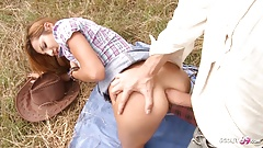 Rough Outdoor Anal for Ginger Girl by White Monster Cock Guy